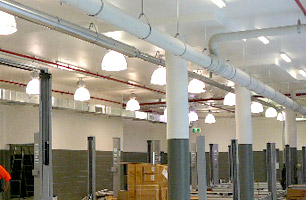 Workshop lighting and ventilation systems for automotive service workshops