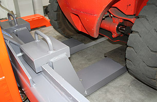 Rear support underneath the axle or if applicable underneath the counterweight