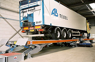 Example of above-ground semi scissor lift with Semi-Trailer lifted into halfway position