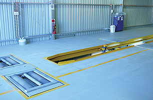 RMS Workshop inspection and service pit, all components were prefabricated and made to RMS testing facility standards