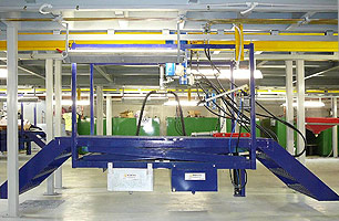 Suspended Ceiling Pit showing travelling platform with stairs & lubrication tanks