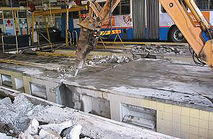 First steps are to break the existing concrete on floor level to accommodate the brake and suspension testers.
